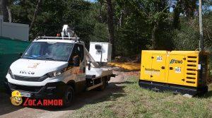 groupe électrogène et camion nacelle
